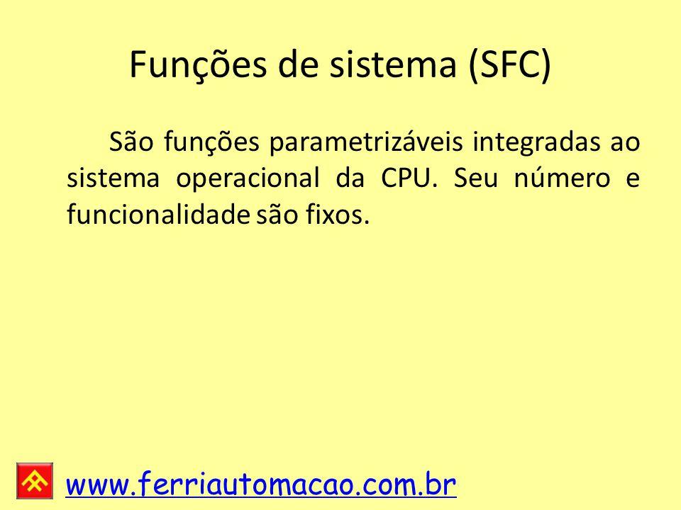www.ferriautomacao.com.br Funções de sistema (SFC) São funções parametrizáveis integradas ao sistema operacional da CPU.