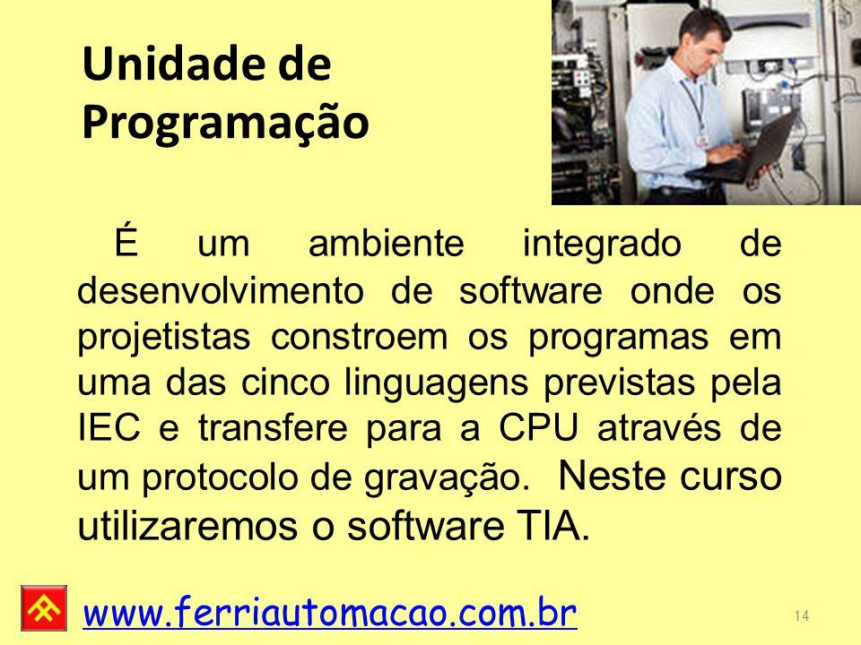 www.ferriautomacao.com.br 14 É um ambiente integrado de desenvolvimento de software onde os projetistas constroem os programas em uma das cinco linguagens previstas pela IEC e transfere para a CPU através de um protocolo de gravação.