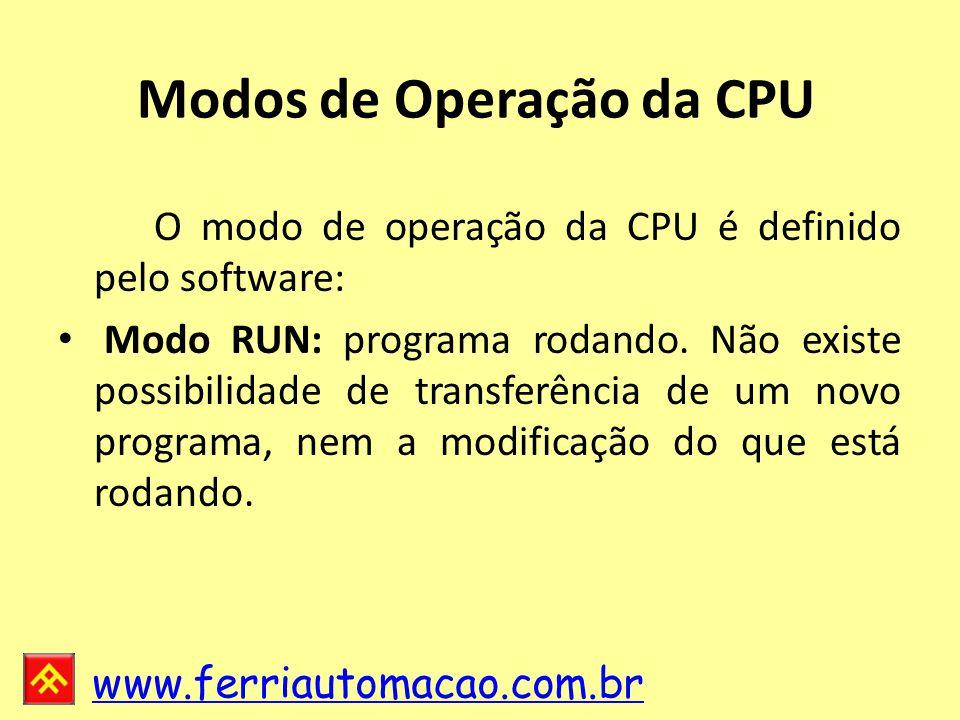 www.ferriautomacao.com.br Modos de Operação da CPU O modo de operação da CPU é definido pelo software: Modo RUN: programa rodando.