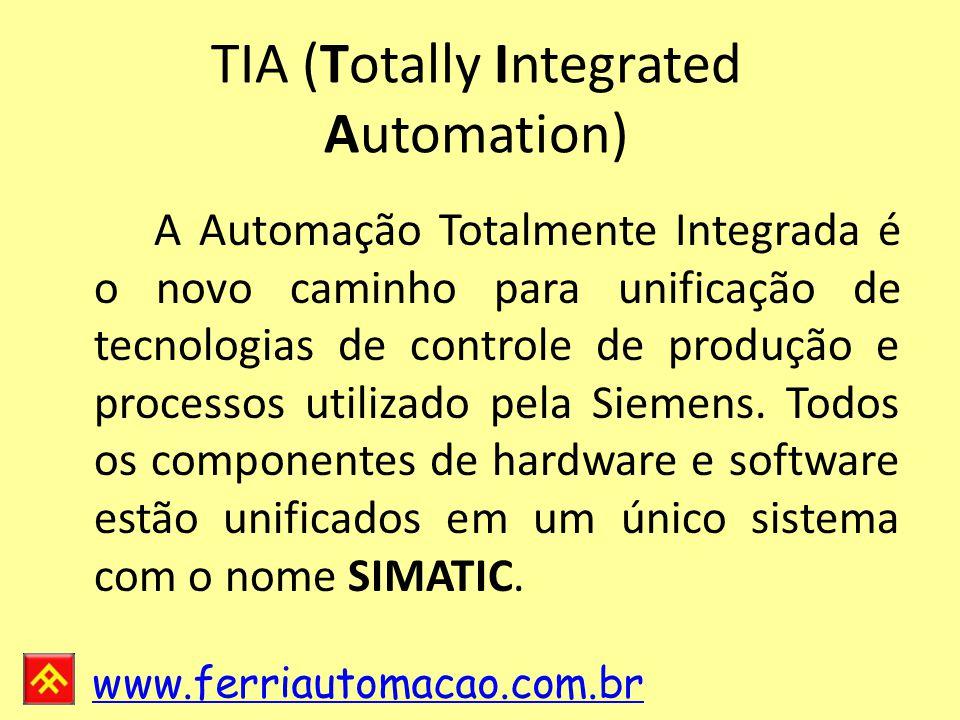 www.ferriautomacao.com.br TIA (Totally Integrated Automation) A Automação Totalmente Integrada é o novo caminho para unificação de tecnologias de controle de produção e processos utilizado pela Siemens.