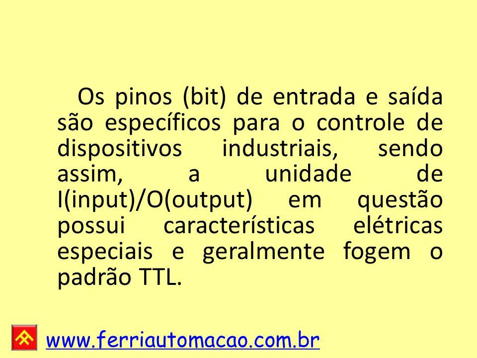 www.ferriautomacao.com.br Os pinos (bit) de entrada e saída são específicos para o controle de dispositivos industriais, sendo assim, a unidade de I(input)/O(output) em questão possui características elétricas especiais e geralmente fogem o padrão TTL.