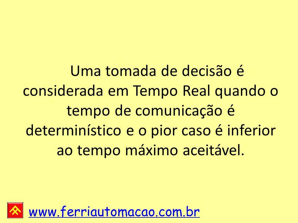 www.ferriautomacao.com.br Uma tomada de decisão é considerada em Tempo Real quando o tempo de comunicação é determinístico e o pior caso é inferior ao tempo máximo aceitável.