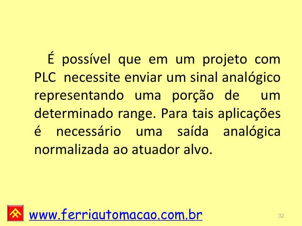 www.ferriautomacao.com.br 32 É possível que em um projeto com PLC necessite enviar um sinal analógico representando uma porção de um determinado range.