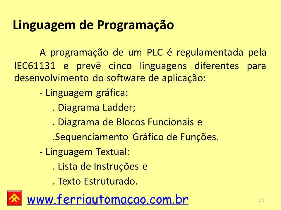 www.ferriautomacao.com.br Linguagem de Programação 35 A programação de um PLC é regulamentada pela IEC61131 e prevê cinco linguagens diferentes para desenvolvimento do software de aplicação: - Linguagem gráfica:.