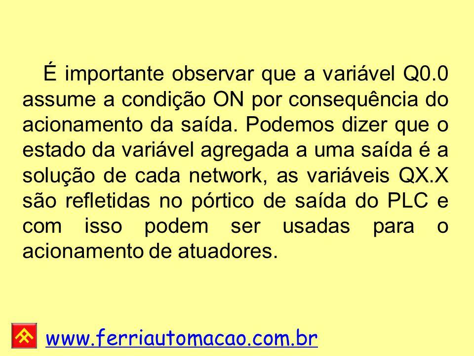 www.ferriautomacao.com.br É importante observar que a variável Q0.0 assume a condição ON por consequência do acionamento da saída.