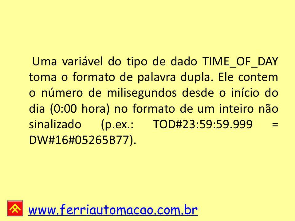 www.ferriautomacao.com.br Uma variável do tipo de dado TIME_OF_DAY toma o formato de palavra dupla.