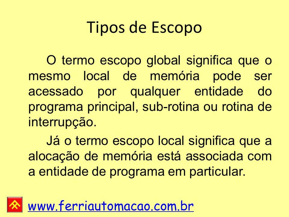 www.ferriautomacao.com.br Tipos de Escopo O termo escopo global significa que o mesmo local de memória pode ser acessado por qualquer entidade do programa principal, sub-rotina ou rotina de interrupção.