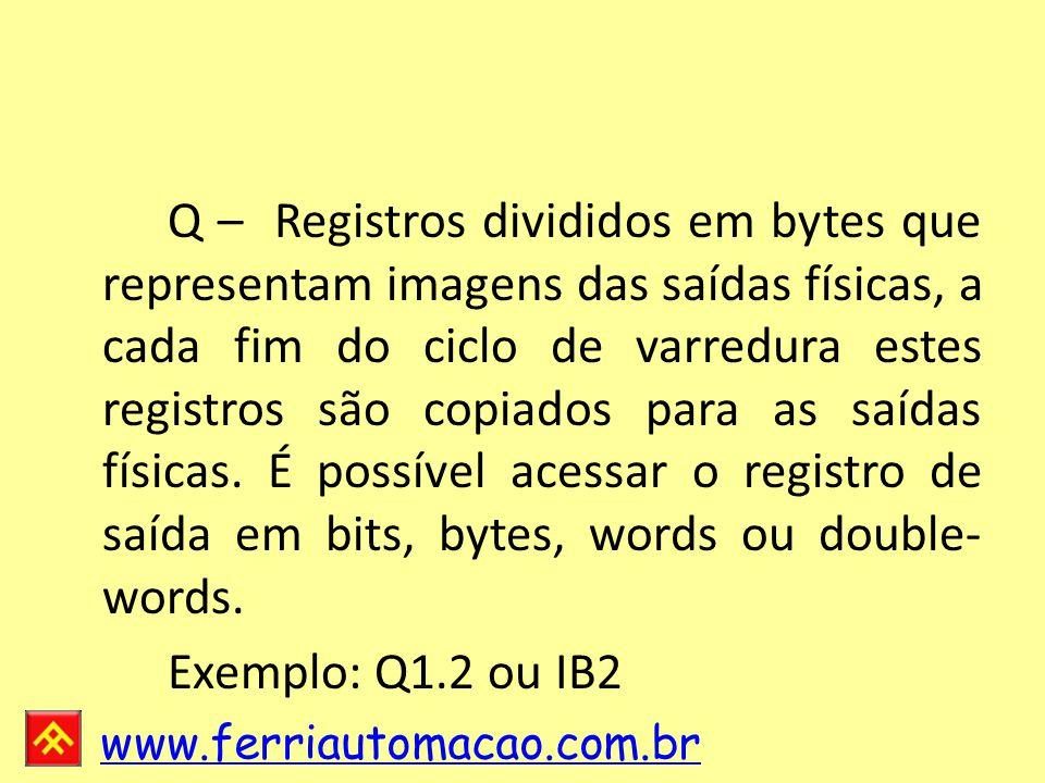 www.ferriautomacao.com.br Q – Registros divididos em bytes que representam imagens das saídas físicas, a cada fim do ciclo de varredura estes registros são copiados para as saídas físicas.