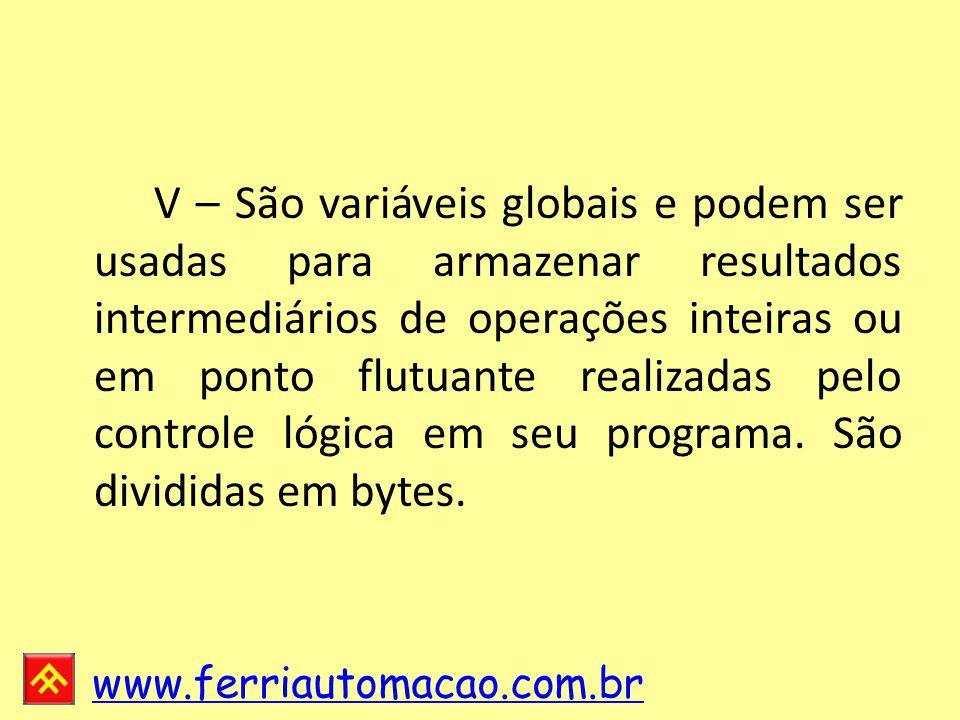 www.ferriautomacao.com.br V – São variáveis globais e podem ser usadas para armazenar resultados intermediários de operações inteiras ou em ponto flutuante realizadas pelo controle lógica em seu programa.