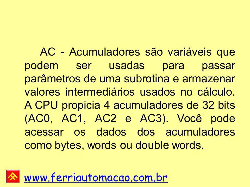 www.ferriautomacao.com.br AC - Acumuladores são variáveis que podem ser usadas para passar parâmetros de uma subrotina e armazenar valores intermediários usados no cálculo.