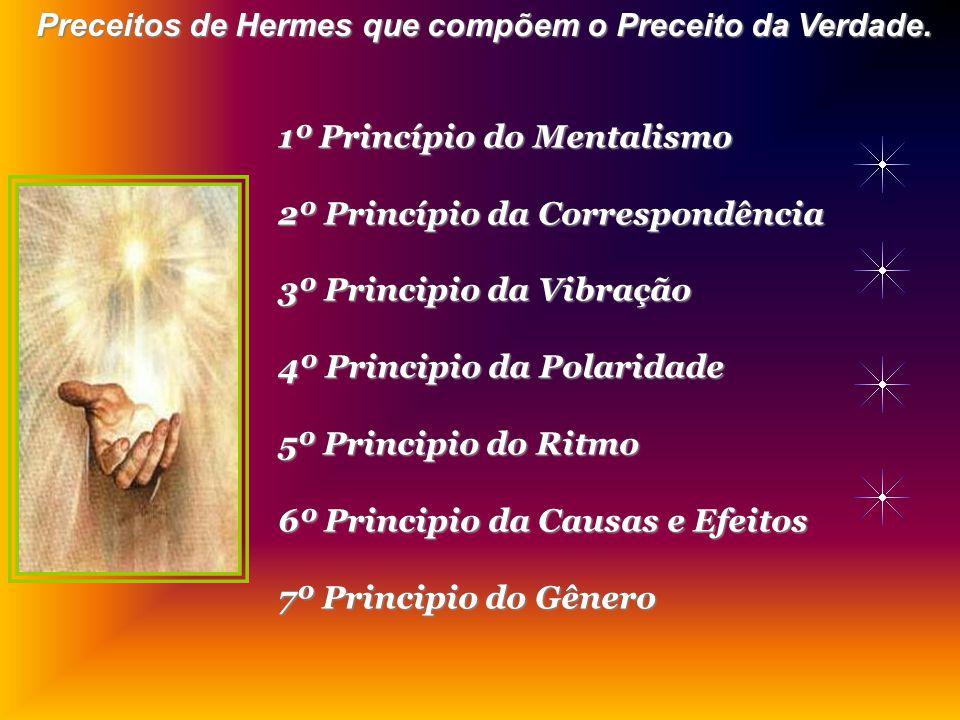 1º Princípio do Mentalismo 2º Princípio da Correspondência 3º Principio da Vibração 4º Principio da Polaridade 5º Principio do Ritmo 6º Principio da Causas e Efeitos 7º Principio do Gênero Preceitos de Hermes que compõem o Preceito da Verdade.