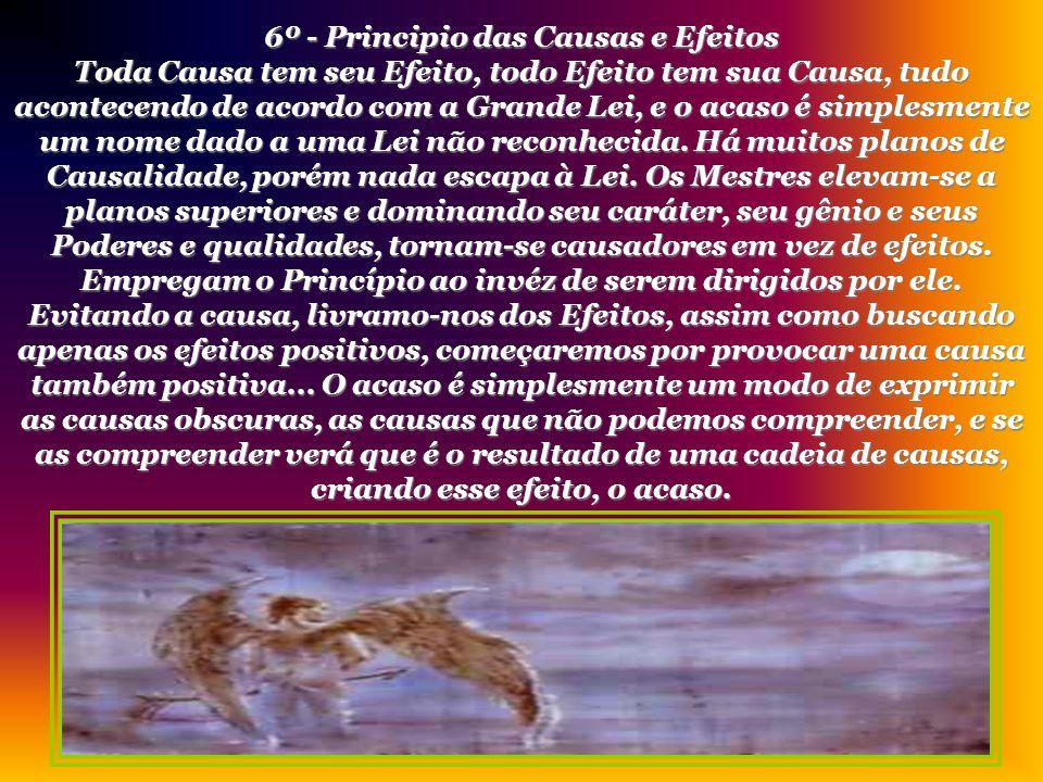 5º - Principio do Ritmo Tudo tem fluxo e refluxo, tudo tem suas marés, tudo sobe e desce. Tudo se manifesta por oscilações compensadas, a medida do mo