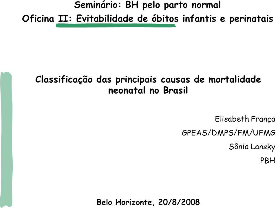  óbitos no primeiro dia de vida: cerca de um quarto dos óbitos infantis em todas as regiões do país  mortalidade neonatal precoce (0-6 dias):51% (região Nordeste e Sudeste) e 50% (demais regiões)  óbitos neonatais (0-27 dias): entre 64 a 69% Proporção dos óbitos infantis por componente no Brasil em 2003-2005