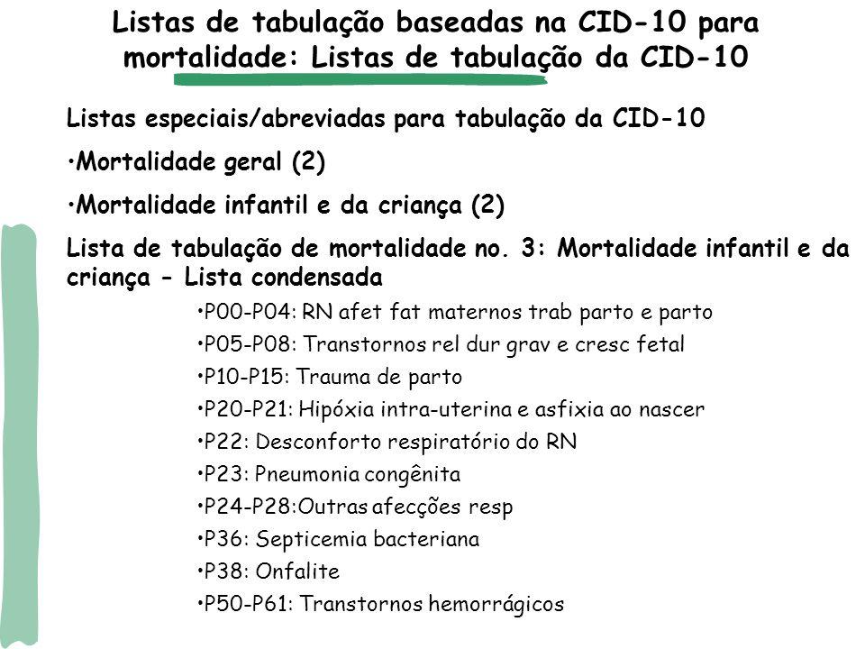 Afecções perinatais na Lista CID-BR Listas de tabulação baseadas na CID-10 para mortalidade: Lista CID-BR
