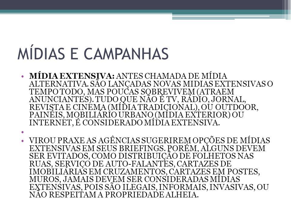 MÍDIAS E CAMPANHAS MÍDIA EXTENSIVA: ANTES CHAMADA DE MÍDIA ALTERNATIVA.