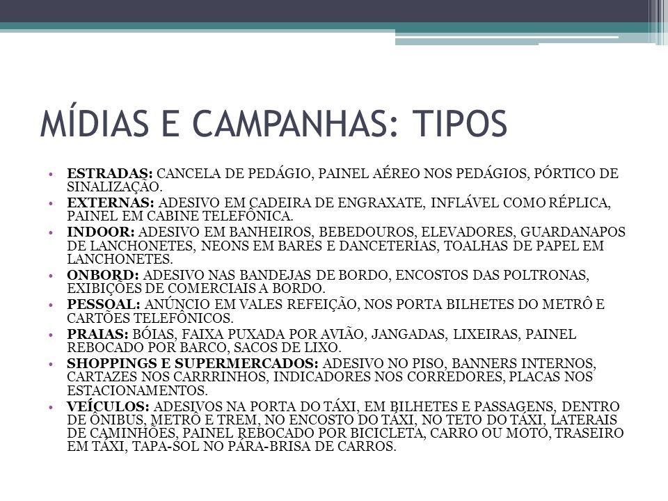 MÍDIAS E CAMPANHAS: TIPOS ESTRADAS: CANCELA DE PEDÁGIO, PAINEL AÉREO NOS PEDÁGIOS, PÓRTICO DE SINALIZAÇÃO.