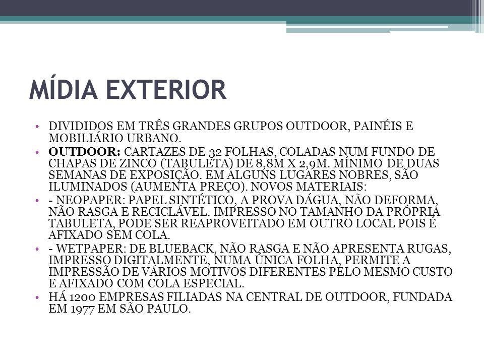 MÍDIA EXTERIOR DIVIDIDOS EM TRÊS GRANDES GRUPOS OUTDOOR, PAINÉIS E MOBILIÁRIO URBANO.