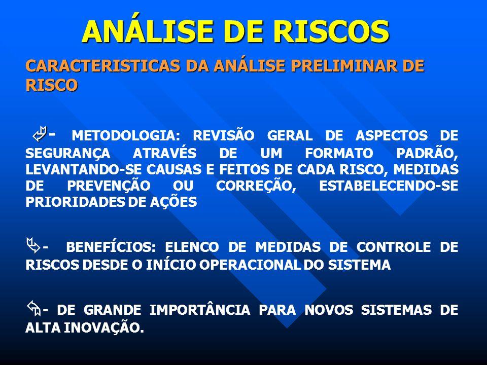 ANÁLISE DE RISCOS CARACTERISTICAS DA ANÁLISE PRELIMINAR DE RISCO   - METODOLOGIA: REVISÃO GERAL DE ASPECTOS DE SEGURANÇA ATRAVÉS DE UM FORMATO PADRÃ