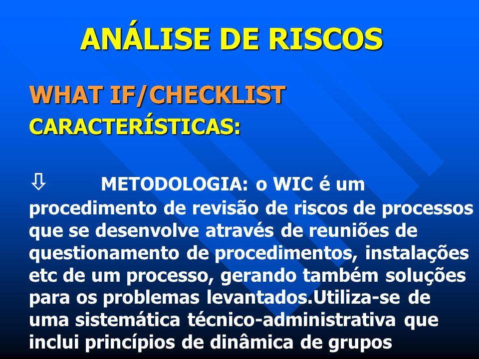 ANÁLISE DE RISCOS WHAT IF/CHECKLIST CARACTERÍSTICAS:  METODOLOGIA: o WIC é um procedimento de revisão de riscos de processos que se desenvolve atravé