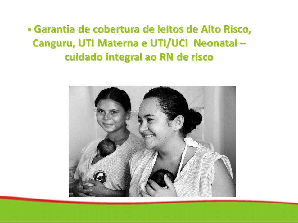 Garantia de cobertura de leitos de Alto Risco, Canguru, UTI Materna e UTI/UCI Neonatal – cuidado integral ao RN de risco Garantia de cobertura de leit