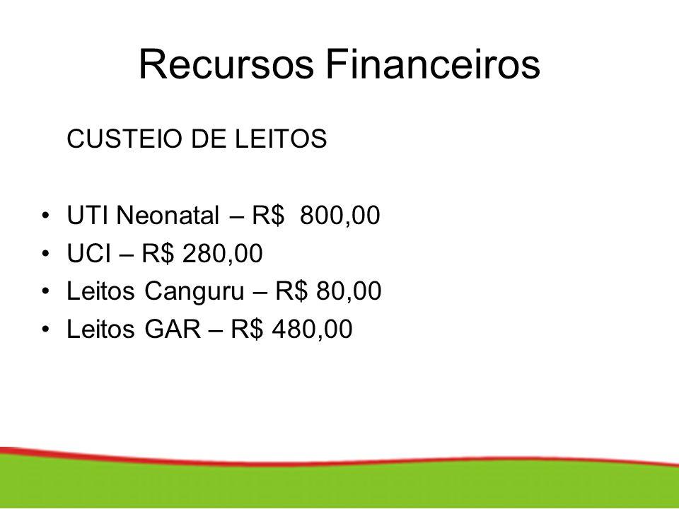 Recursos Financeiros CUSTEIO DE LEITOS UTI Neonatal – R$ 800,00 UCI – R$ 280,00 Leitos Canguru – R$ 80,00 Leitos GAR – R$ 480,00