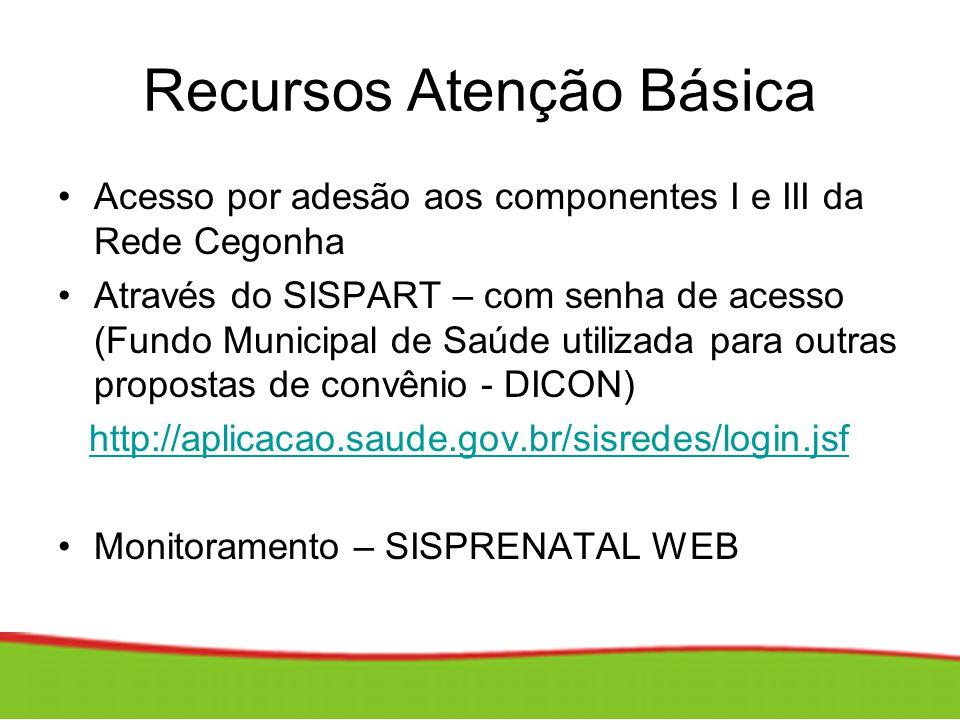 Recursos Atenção Básica Acesso por adesão aos componentes I e III da Rede Cegonha Através do SISPART – com senha de acesso (Fundo Municipal de Saúde u