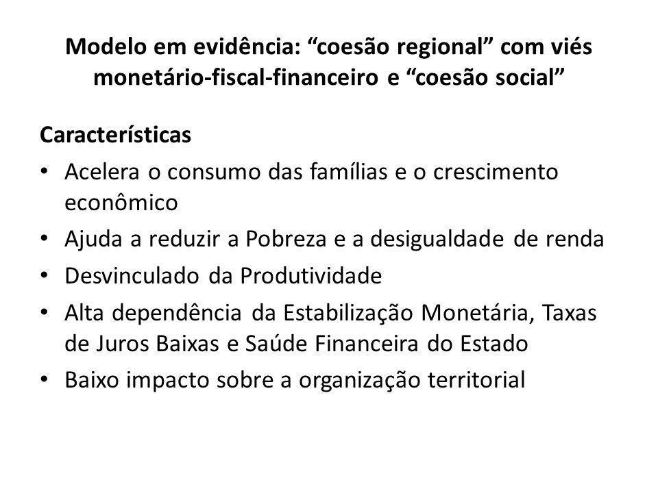 """Modelo em evidência: """"coesão regional"""" com viés monetário-fiscal-financeiro e """"coesão social"""" Características Acelera o consumo das famílias e o cresc"""