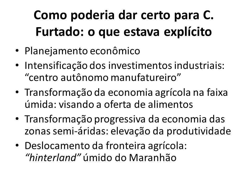 """Como poderia dar certo para C. Furtado: o que estava explícito Planejamento econômico Intensificação dos investimentos industriais: """"centro autônomo m"""