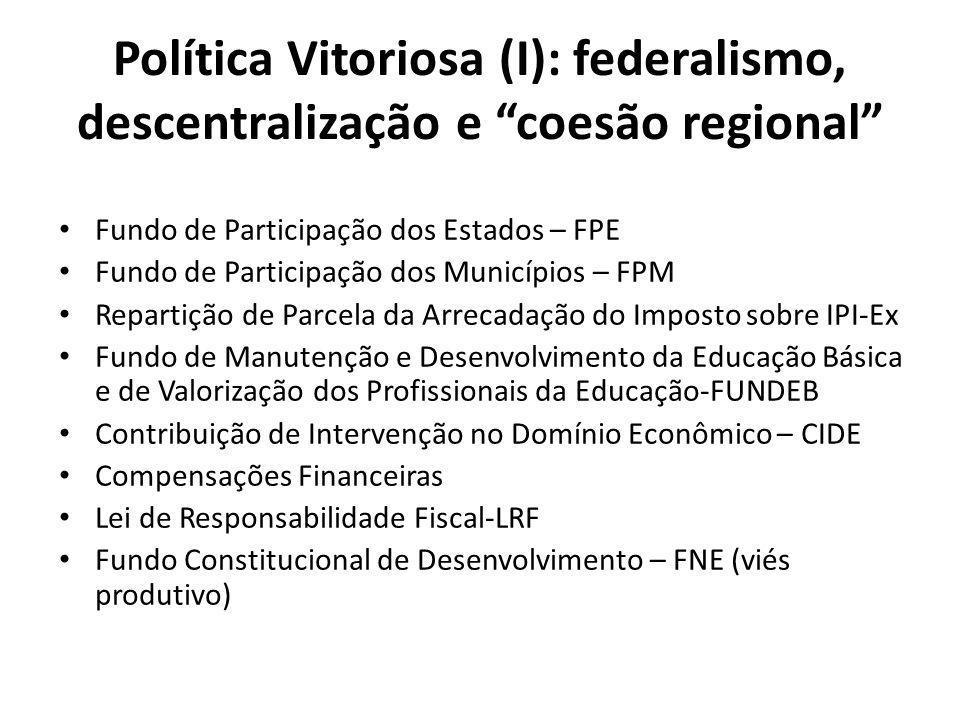 Política Vitoriosa (I): federalismo, descentralização e coesão regional Fundo de Participação dos Estados – FPE Fundo de Participação dos Municípios – FPM Repartição de Parcela da Arrecadação do Imposto sobre IPI-Ex Fundo de Manutenção e Desenvolvimento da Educação Básica e de Valorização dos Profissionais da Educação-FUNDEB Contribuição de Intervenção no Domínio Econômico – CIDE Compensações Financeiras Lei de Responsabilidade Fiscal-LRF Fundo Constitucional de Desenvolvimento – FNE (viés produtivo)