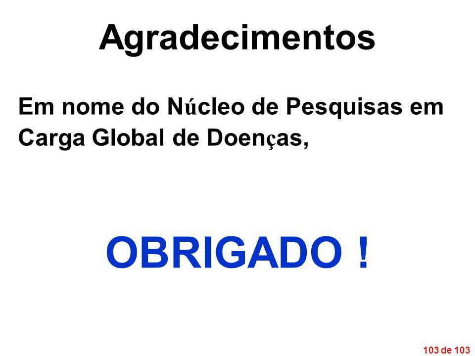 103 de 103 Agradecimentos Em nome do N ú cleo de Pesquisas em Carga Global de Doen ç as, OBRIGADO !