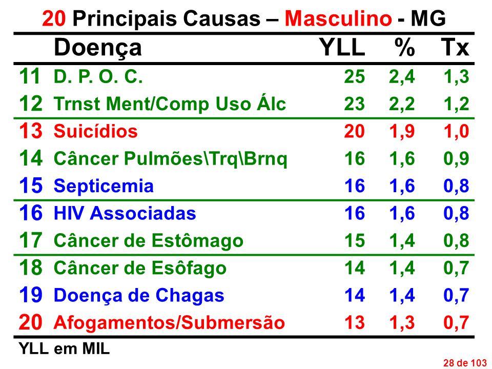 28 de 103 20 Principais Causas – Masculino - MG DoençaYLL%Tx 11 D.