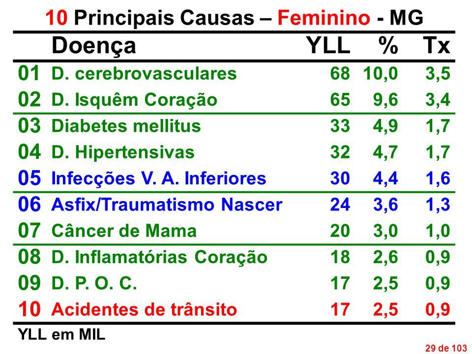 29 de 103 10 Principais Causas – Feminino - MG DoençaYLL%Tx 01 D.