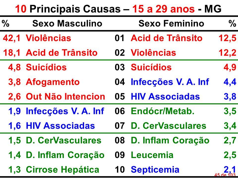 45 de 103 10 Principais Causas – 15 a 29 anos - MG %Sexo MasculinoSexo Feminino% 42,1Violências01Acid de Trânsito12,5 18,1Acid de Trânsito02Violências12,2 4,8Suicídios03Suicídios4,9 3,8Afogamento04Infecções V.