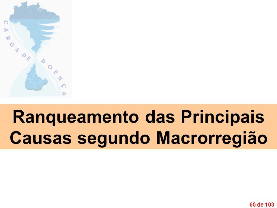 65 de 103 Ranqueamento das Principais Causas segundo Macrorregião