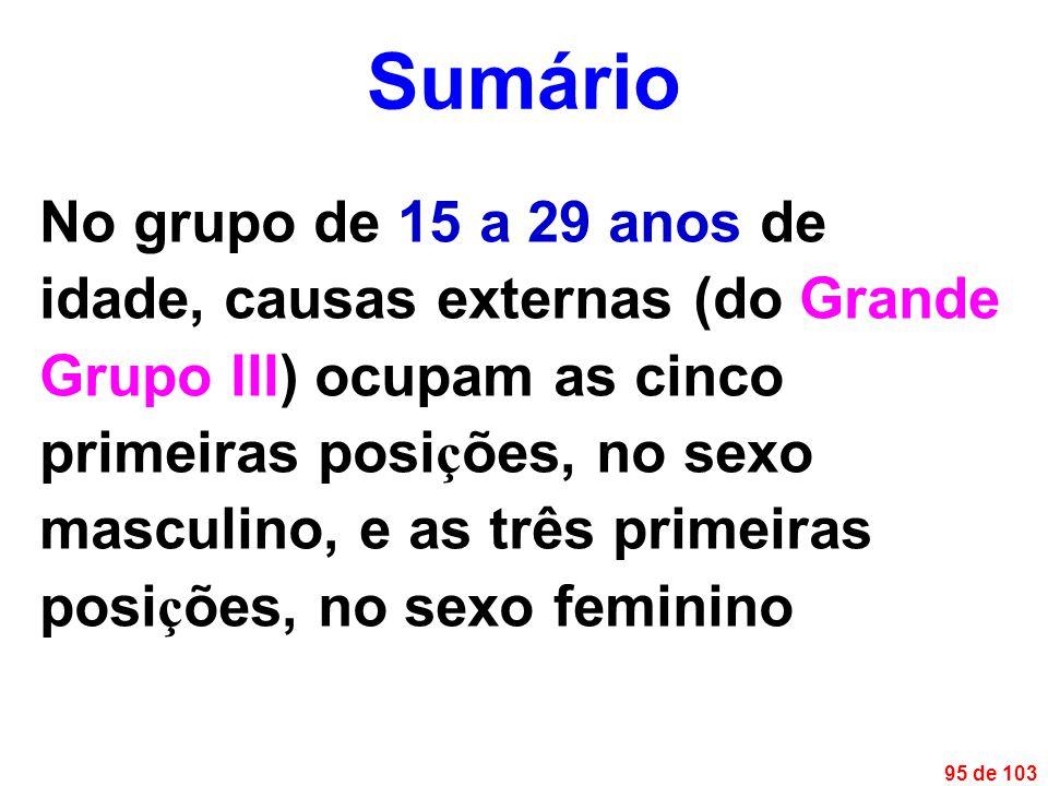 95 de 103 No grupo de 15 a 29 anos de idade, causas externas (do Grande Grupo III) ocupam as cinco primeiras posi ç ões, no sexo masculino, e as três primeiras posi ç ões, no sexo feminino Sumário