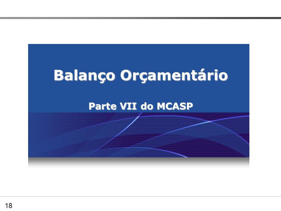Balanço Orçamentário Parte VII do MCASP Preenchendo os Quadros demonstrativos – BO 18
