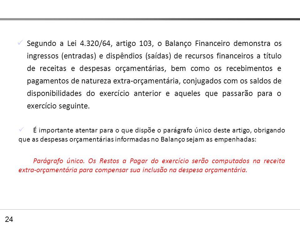Balanço Financeiro Segundo a Lei 4.320/64, artigo 103, o Balanço Financeiro demonstra os ingressos (entradas) e dispêndios (saídas) de recursos financ
