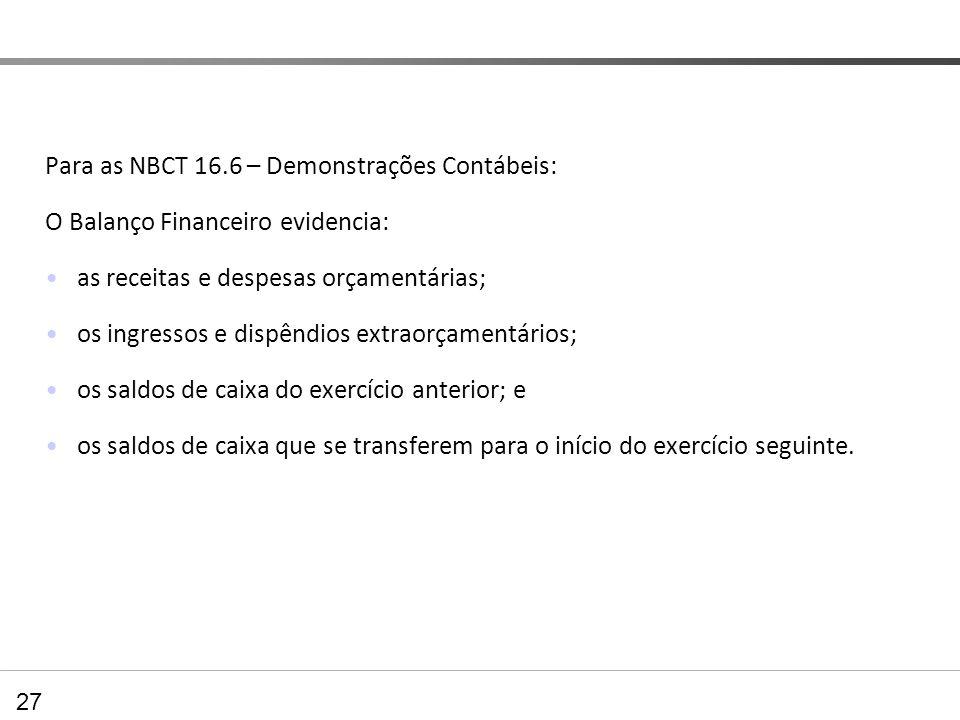 Para as NBCT 16.6 – Demonstrações Contábeis: O Balanço Financeiro evidencia: as receitas e despesas orçamentárias; os ingressos e dispêndios extraorça