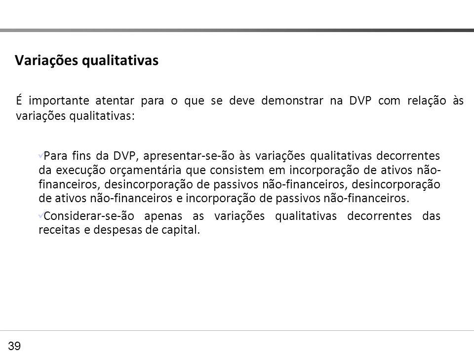 Variações qualitativas Para fins da DVP, apresentar-se-ão às variações qualitativas decorrentes da execução orçamentária que consistem em incorporação