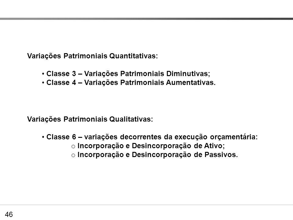 46 DVP – Extração de dados no PCASP Variações Patrimoniais Quantitativas: Classe 3 – Variações Patrimoniais Diminutivas; Classe 4 – Variações Patrimon