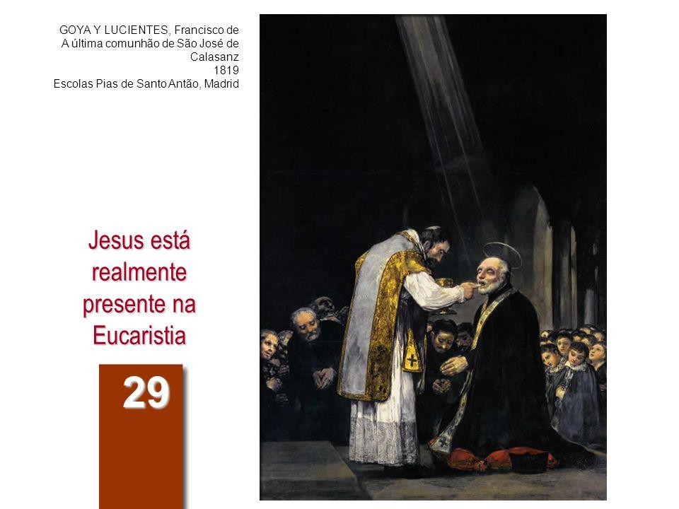 Compêndio do Catecismo 282.Como é que Jesus está presente na Eucaristia.