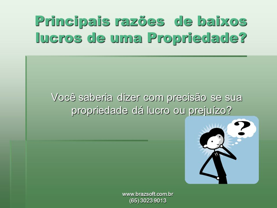www.brazsoft.com.br (65) 3023 9013 Principais razões de baixos lucros de uma Propriedade? Você saberia dizer com precisão se sua propriedade dá lucro