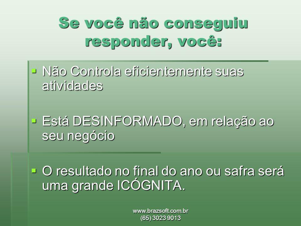 www.brazsoft.com.br (65) 3023 9013 Se você não conseguiu responder, você:  Não Controla eficientemente suas atividades  Está DESINFORMADO, em relaçã