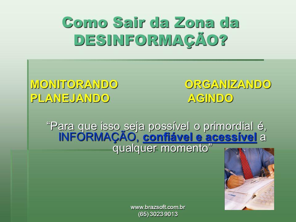 """www.brazsoft.com.br (65) 3023 9013 Como Sair da Zona da DESINFORMAÇÃO? MONITORANDO ORGANIZANDO PLANEJANDO AGINDO """"Para que isso seja possível o primor"""