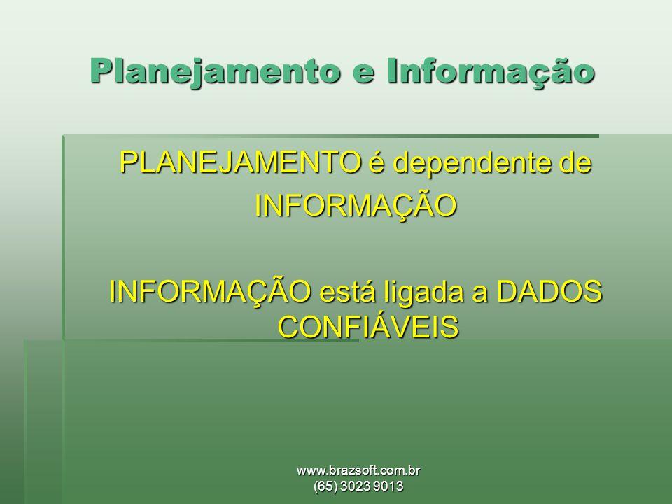 www.brazsoft.com.br (65) 3023 9013 Planejamento e Informação PLANEJAMENTO é dependente de INFORMAÇÃO INFORMAÇÃO está ligada a DADOS CONFIÁVEIS
