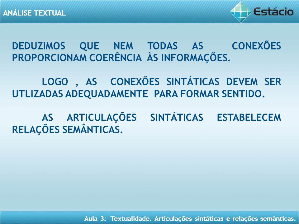 ANÁLISE TEXTUAL Aula 3: Textualidade.Articulações sintáticas e relações semânticas.