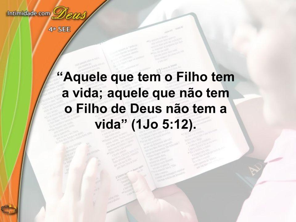 """""""Aquele que tem o Filho tem a vida; aquele que não tem o Filho de Deus não tem a vida"""" (1Jo 5:12)."""