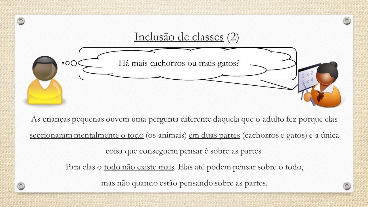Inclusão de classes (2) Há mais cachorros ou mais animais? Há mais cachorros ou mais gatos? As crianças pequenas ouvem uma pergunta diferente daquela