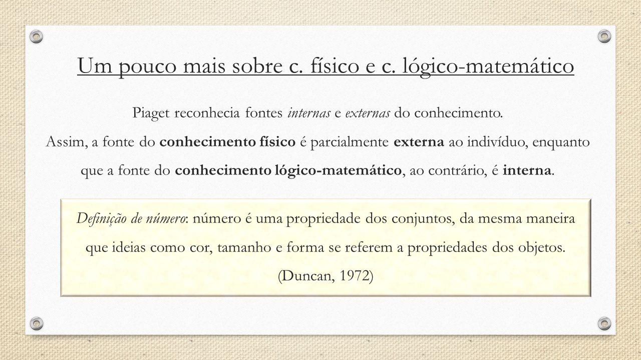 Um pouco mais sobre c. físico e c. lógico-matemático Piaget reconhecia fontes internas e externas do conhecimento. Assim, a fonte do conhecimento físi
