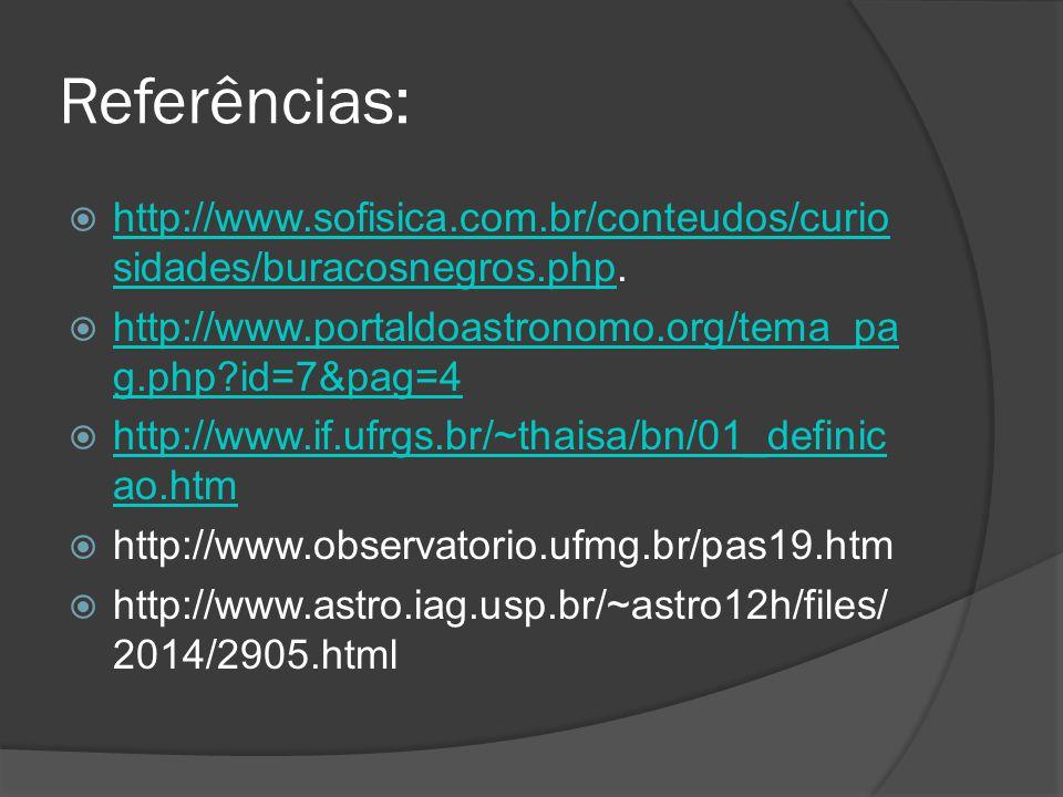 Referências:  http://www.sofisica.com.br/conteudos/curio sidades/buracosnegros.php. http://www.sofisica.com.br/conteudos/curio sidades/buracosnegros.